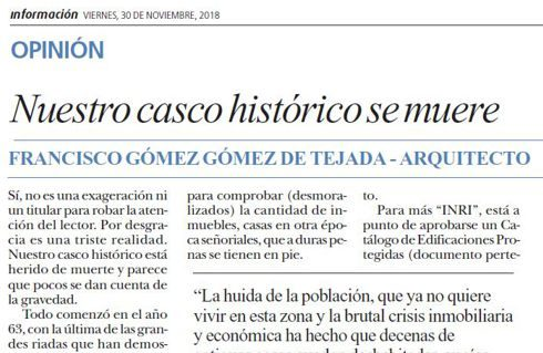 Nuestro casco histórico se muere (artículo)